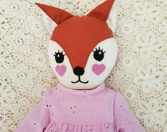 Fox girl cloth doll, fabric fox doll, handmade fox softie, fox doll, girl doll, girl fox doll, handmade fox doll, fox softie, fox soft toy