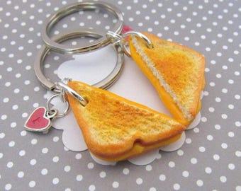 Grilled Cheese Keychains, Boyfriend Gift, Best Friend Keychains, Polymer Clay Food, Matching Keychains, Personalized BFF Gift