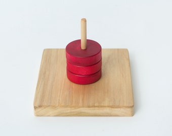 Montessori Rings on a Vertical Dowel