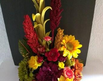 Fall silk flower floral centerpiece arrangement