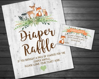 Woodland Diaper Raffle Sign and Cards, INSTANT DOWNLOAD, Forest Animals Baby Shower Diaper Raffle Sign, Wood Sign, Fox, Deer, Raccoon, Owl