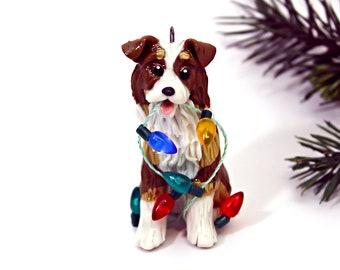 Australian Shepherd Red Tricolor Porcelain Christmas Ornament Figurine