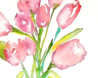 Tulip Watercolor, Painting of Tulips, Tulips, Flowers, Floral Prints, Pink Tulips, Red Tulips