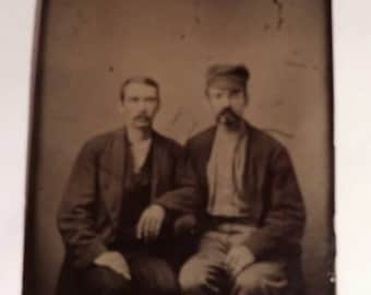 Vintage Tintype Photo of Two Men Sitting. One Man with Hat