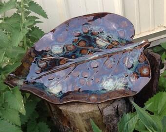 Leaf Garden Sculpture or Birdbath