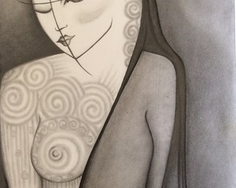 """original drawing """"Demure Uncovered"""" with frame 12x15"""""""