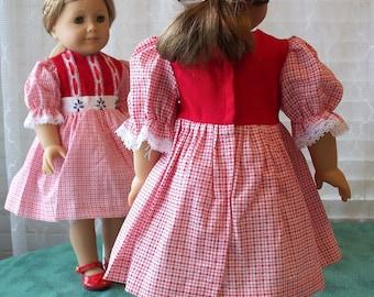 Handmade Doll Dress fits 18 inch dolls, Red Festive Dress, Traditional Doll Dress, fabric doll dress for 18 inch doll, doll fashion