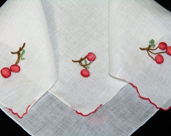 Vintage Embroidered Danging Cherry Cherries Fruit Wedding Handkerchief, Hankie, Hanky - 9997