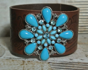 Leather Tooled Bracelet with Repurposed Turquoise Brooch, Brown Leather Cuff, Assemblage, Vintage Brooch, One of a Kind By UPcycled Works