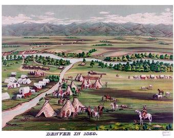"Denver, Colorado in 1859 Poster Art Print 13"" x 19"""