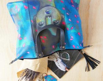 Shoulder Shopping Bag, 'Raffled Roses' by ChiarArtIllustration