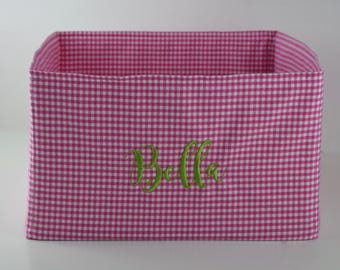 Personalized Pet Basket Any Color - Gingham Toy Bin for your Dog or Cat - Great Puppy Gift by Three Spoiled Dogs