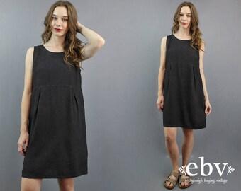 Minimalist Dress Minimal Dress Black Linen Dress Babydoll Dress 90s Dress 90s Mini Dress 1990s Dress Linen Mini Dress Black Dress S M L