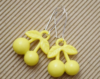 Kitsch Yellow Cherry Design Silver Plated Earrings