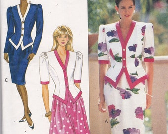 Butterick 4621  Vintage Pattern Womens Tapered Skirt and Semi Fitted Top in Variations Size 6,8,10