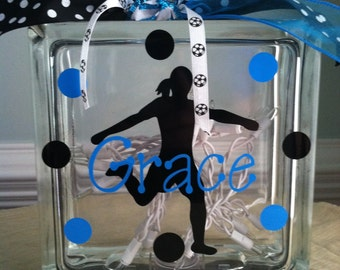 Personalized Soccer Glass Block Light