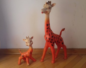 Set of Vintage Mother Giraffe(42 cm tall) Rubber Squeeky Toy with her young-Biserka Zagreb 70's-Rare!