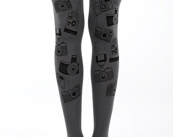 Camera tights, grey printed tights, pantyhose for photography lovers