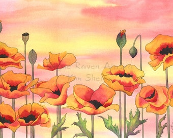 Fire Poppies - Limited Edition Yellow and Orange Poppy print with sunset background