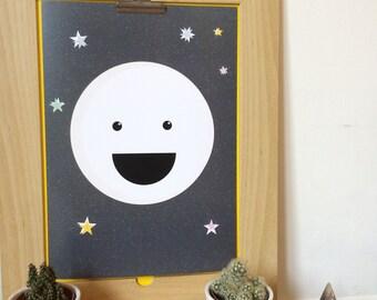 Cute Moon Digital Print, Moon Illustration, Nursery Wall Art, Kids Room Decor