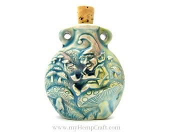 Gnome Raku Ceramic Bottle Pendant, High Fired Clay Vessel, 1pc