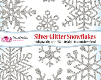 Silver Glitter Snowflakes clipart. Digital clip art. Commercial & personal Use. Instant Download. Frozen sparkly winter snowflakes Christmas