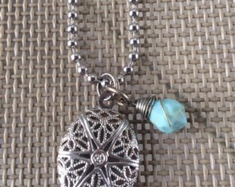 Blue Bead Essential Oil Diffuser Necklace, Aromatherapy Necklace.