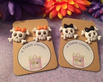 Skulls with Bows Earrings