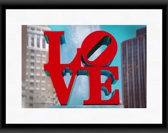 Philadelphia Love Print, Philadelphia Photography, Philly Love Sign Print, Modern Pop Art, Romantic Wall Art, Red
