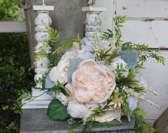 Organic style fabric and silk flower bridal bouquet, fabric wedding flowers, white, ivory, burlap and lace, vintage brooches, satin flowers