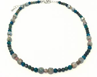 Multicolor Beaded Choker Necklace - olive and turquoise