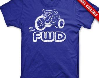 Kid's My First FWD t-shirt funny big wheel car shirt
