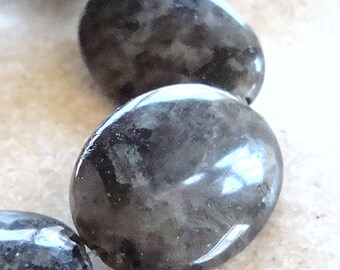Larvikite Beads 20 x 16mm Black Labradorite Smooth Ovals - 6 Pieces