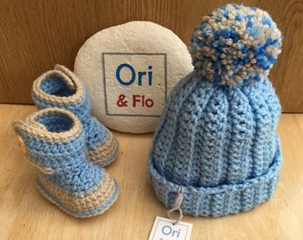 Baby hat and bootie set, 3-6 months hat and bootie set, Boys pompom hat,  Boys booties,  Boys bobble hat, baby shower gift, baby gift