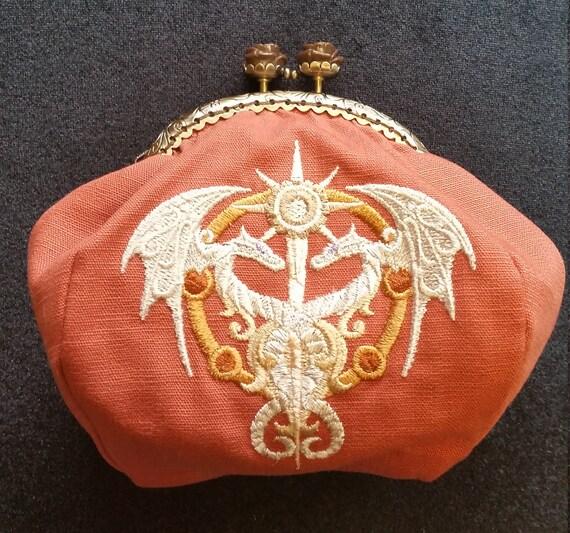 CP554. Coin purse with steampunk alchemy caduceus design.