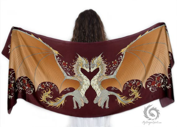 Red Love Dragons Scarf