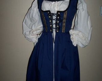 Cotton Renaissance dress gown pirate wench costume includes chemise choice of color