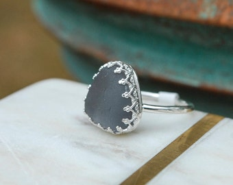 Ring, Sterling Silver Ring, Sea Glass Ring, Handmade Ring, Size 6 Ring, Woman Ring, Seaglass Ring, Rings For Women, Gray Sea Glass