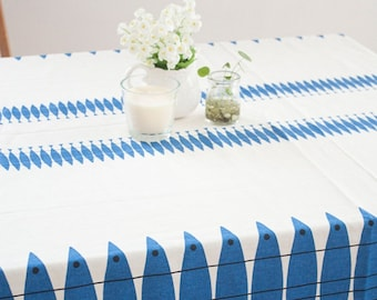Linen Cotton Blend Ecofriendly Off White Tablecloth With Blue Abstract Pacific Saury Fish. Custom Size, Table Runners, Placemats Available