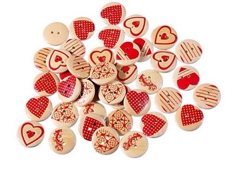 10 wooden buttons with red hearts print