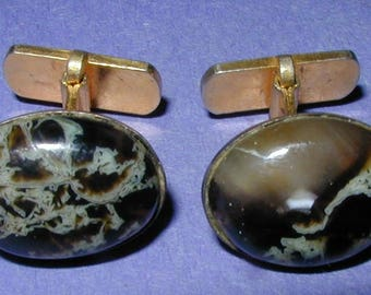 Vintage Agate and Gold Plated Cuff Links
