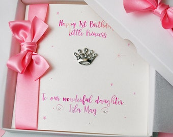 LUXURY Little Princess First Birthday Card PERSONALISED HANDMADE Boxed 1st