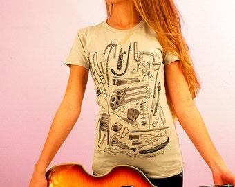 Musical Instrument Shirt - Women's Music Gift - Gift for Music Teacher - Music Art - Bass Guitar Shirt