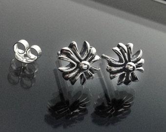 925 Solid Sterling Silver Maltese Cross Earrings/Oxidized/Maltese Crosse Stud Earrings/Amalfi Cross Earrings