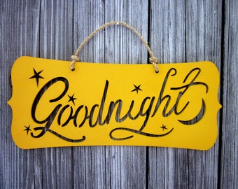 Goodnight Sign, Yellow, Painted Wood, Stars and Moon, Childs Room, Laser Cut Sign, Kids Wall Art, Jute Hanger, Hand Painted