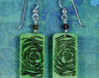Flower Earrings - Green Flower Earrings - Green Earrings - Domino Earrings