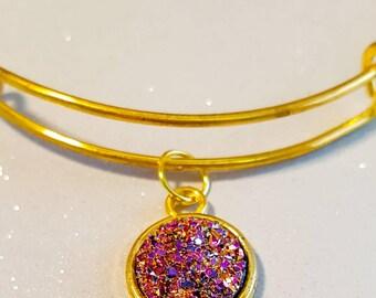 Unicorn colour  bangle, faux druzy , small gold adjustable bangle, sparkle bracelet, glitter look bangle,unicorn colour stone, glittery,