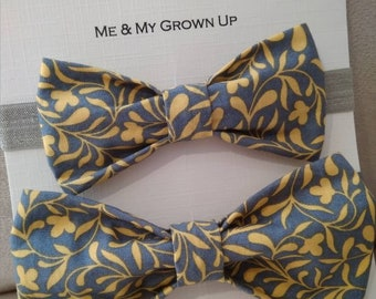 Yellow & Grey Floral Bow Tie, mens bow tie, boys bow tie, gift set, boys accessories, mens accessories, father's day, mens gift, boys gift