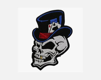 Two Ace's Skull embroidery biker patch (A 90)