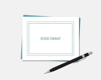 Personalized Note Cards - Personalized Stationery - 50 Colors - Simple Modern - Folded Note Cards - Set of 8 - Custom Note Cards